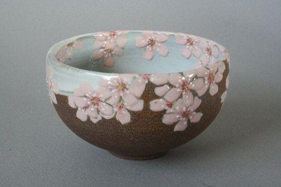 cherry blossom stoneware bowl by JCNiehausPottery …