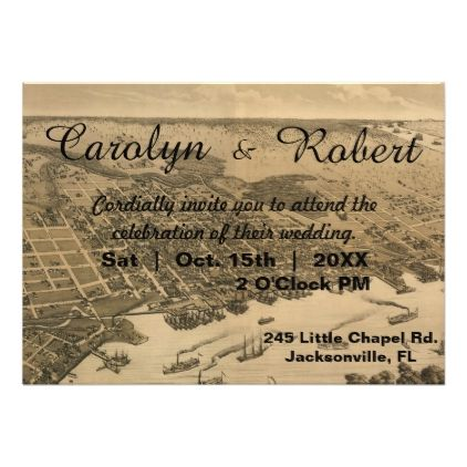 Rustic Vintage Jacksonville Map Wedding Invitation - invitations custom unique diy personalize occasions
