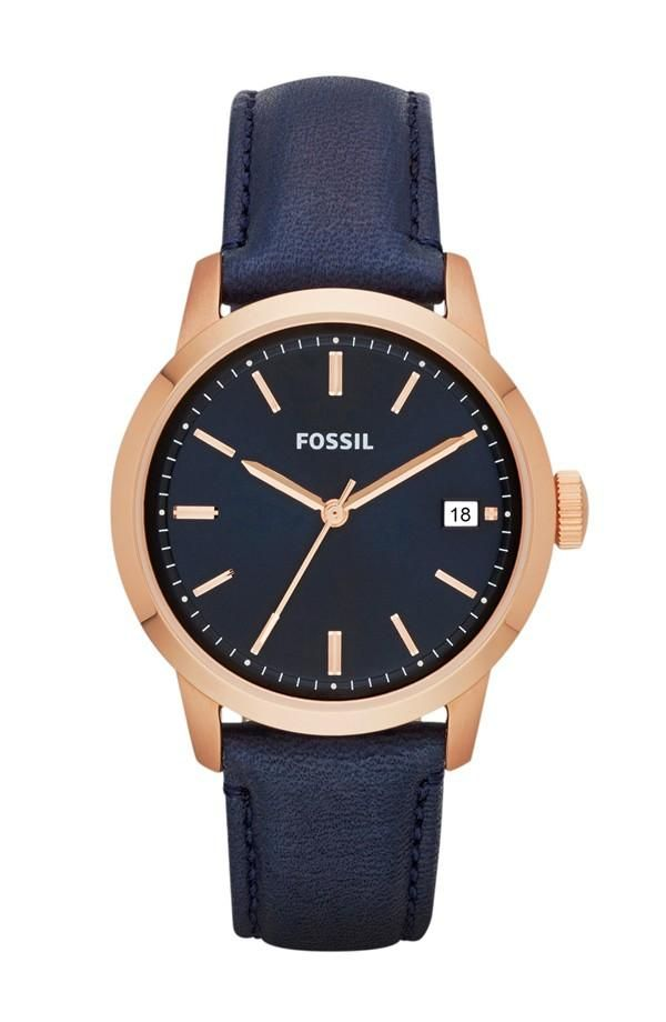 Keep time with a classic navy & rose gold watch. Maybe brown instead of navy but still with rose gold