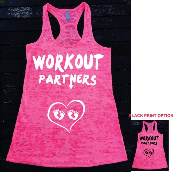 WORKOUT PARTNERS   with TWIN babies feet heart  Pregnant for Twins Ladies  Burnout Racerback Tank Top Women's Workout TankTop So Cute