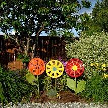 Repurposed Hubcap Flower Yard Art