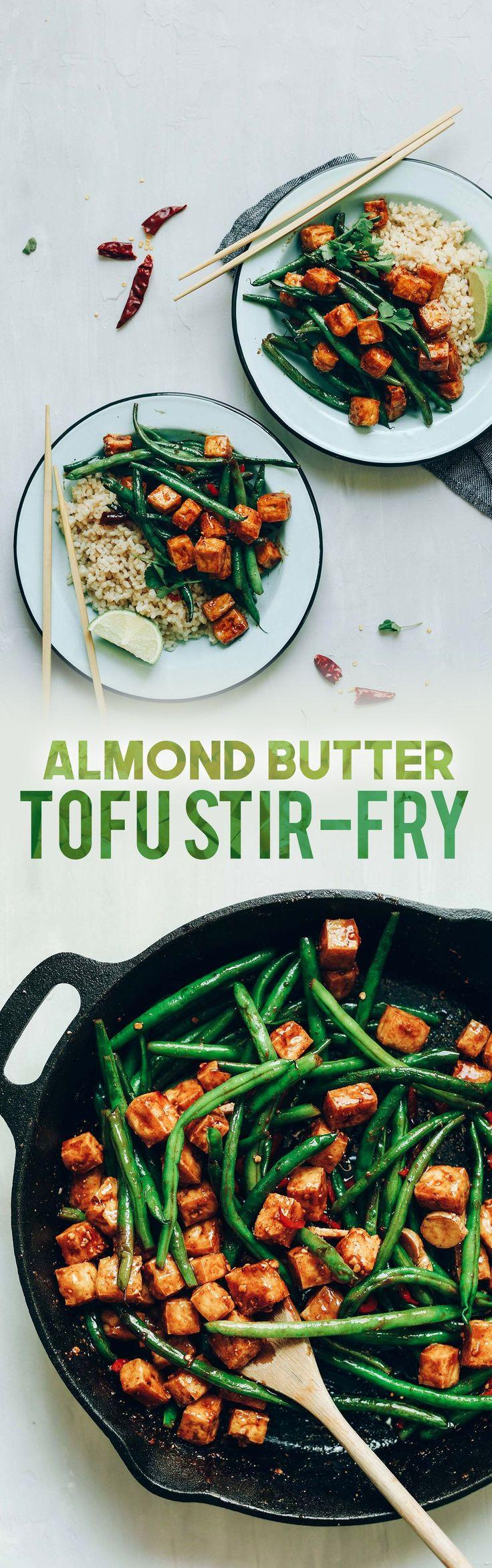 Almond Butter Tofu Stir-Fry! Healthy, 9 ingredients, fast, protein-rich!
