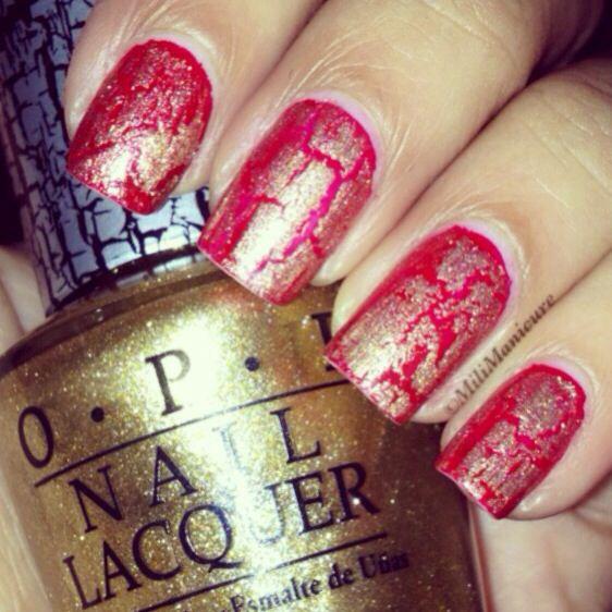 Diwali sparkle & crackle - OPI Gold Shatter & Big Apple Red.