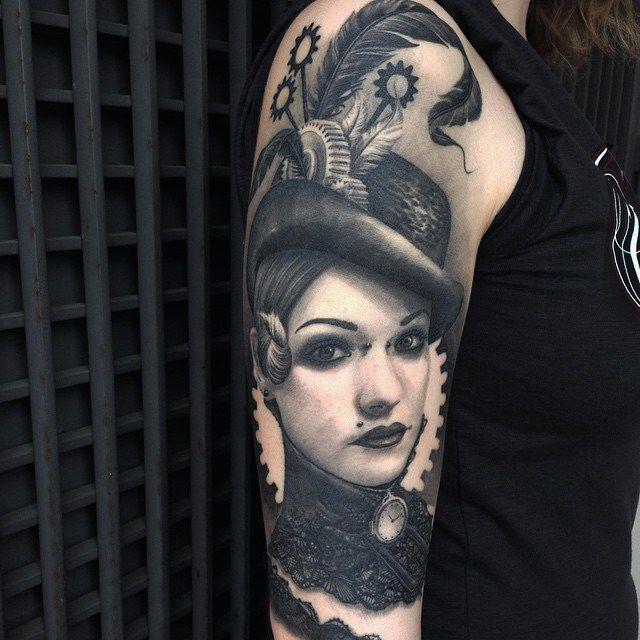 Cogwheel Girl tattoo on Shoulder