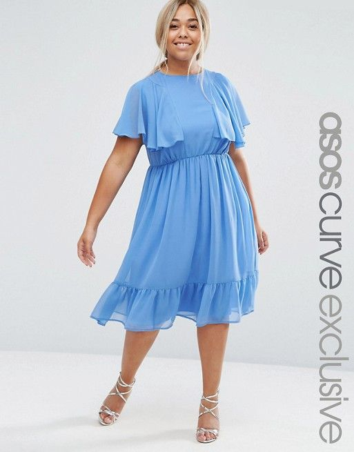 ASOS Curve | ASOS CURVE Flutter Sleeve Ruffle Midi Tea Dress