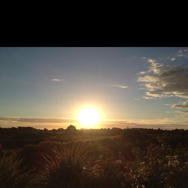 Sun setting at home