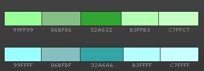 оттенки зеленого и голубого в интерьере