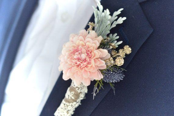 Blush and Navy Wedding Boutonniere | Blush Boutonniere | Dusty Miller | Thistle Wedding | Alternative | Gold Boutonniere