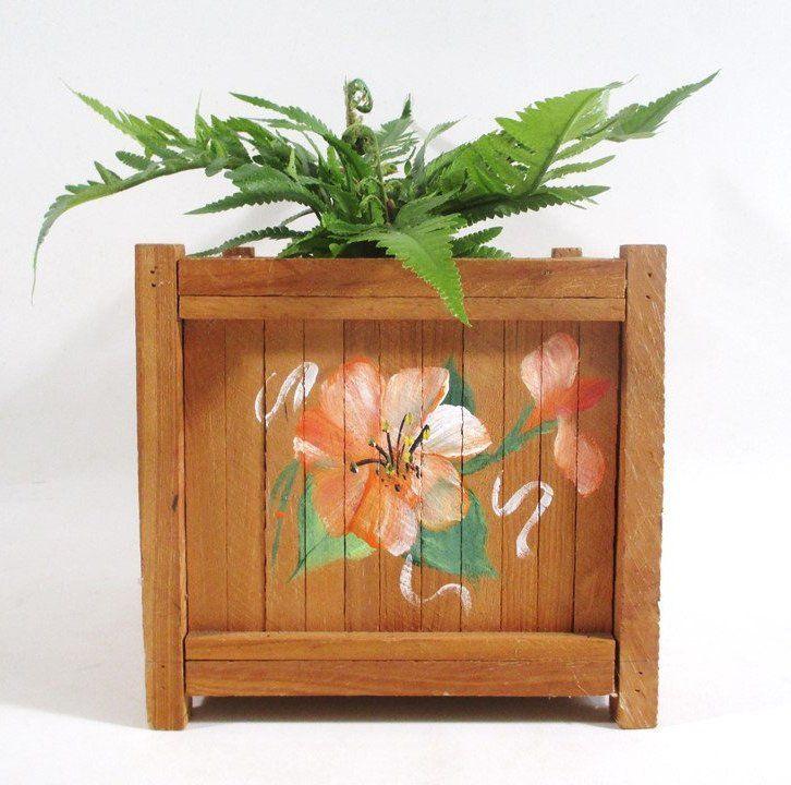 Hand Painted Planter Box, Vintage Hibiscus Motif Tropical Garden Deck Porch Decor Open Storage – General Fun