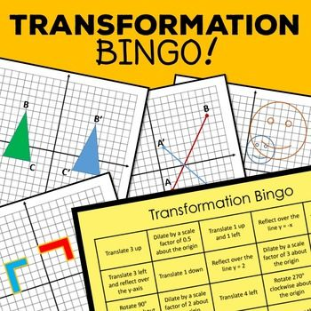 Everybody loves a good game of Bingo! 8th grade math - transformation game, translate, rotate, reflect, dilate, middle school math resource