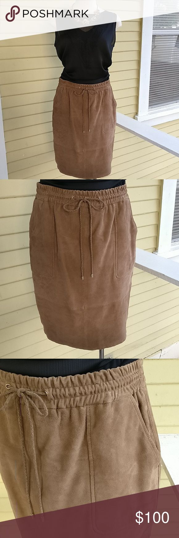 """Massimo Dutti $245 REAL leather drawstring skirt Gorgeous!! Soft and light! Fully lined. 22"""" long.  A closet standard for years to come! Massimo Dutti Skirts Midi"""