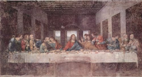 The Last Supper - Leonardo da Vinci 1495. Gallery: Church Santa Maria delle Grazie, Milan, Italy