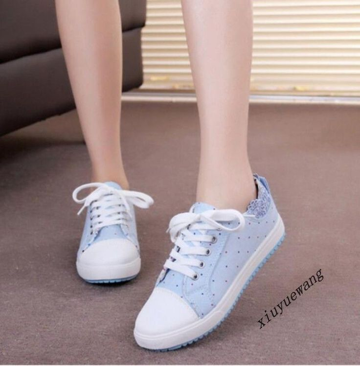 Womens Fashion College Lace Up Flat Heel Low Top Shoes Canvas Loafers Pumps