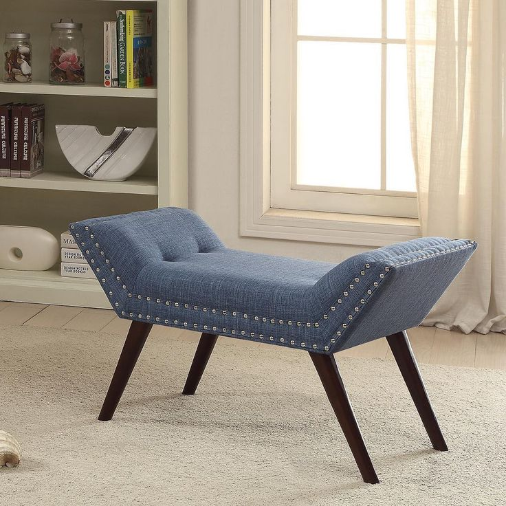 The Lana bench from !nspire is the Hollywood starlet of our #springcollection2017    Retro styling gets a modern makeover with this piece. With its sexy flared legs and nail head detailing on the sides, this bench turns heads!       http://worldwidehomefurnishingsinc.com/lana-bench-in-blue.html