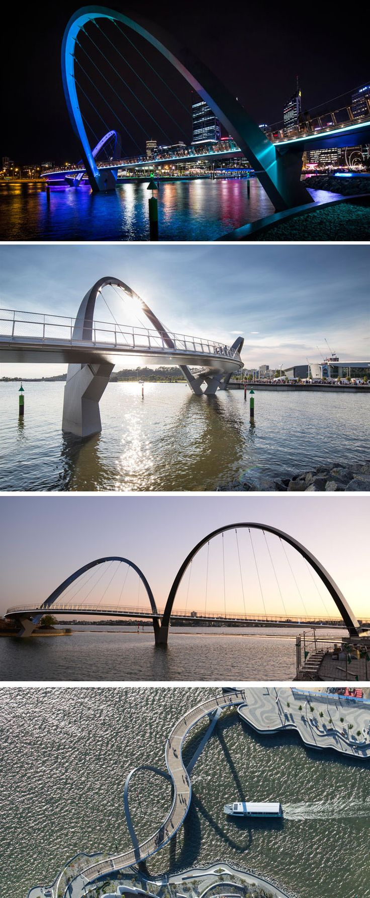 Arup Associates and Arup engineers have worked together to design a new pedestrian and cyclist bridge in Perth, Australia, named the Elizabeth Quay Bridge.