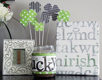 St. Patricks Day - I like the decorating of a jar candle....never would have thought of that!