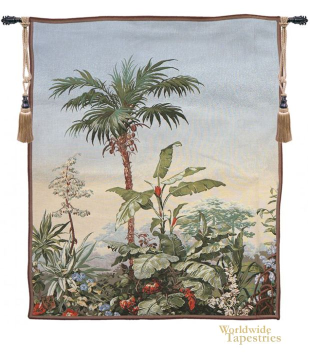 """This exotic tapestry """"Bananier"""" is a detail from the work Paysage Exotique attributed to Isola Bella, Eugene Ehrmann (1804-1896) and Georges Zipelius (1808-1890). European explorers discovered new, exotic flora and plants, including the palm trees seen here with their flowers and fruit, among the luscious setting of a rain forest."""