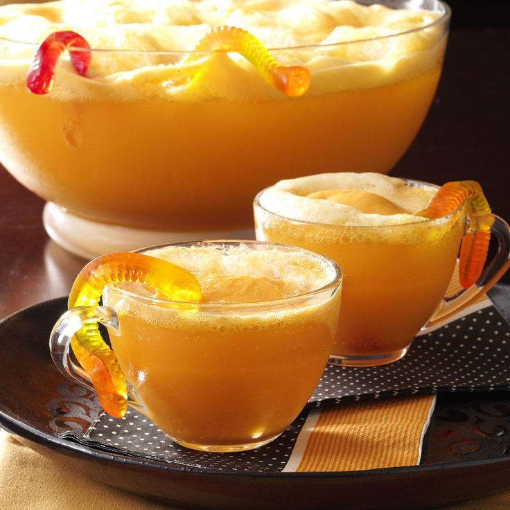 Gummy worms crawling out of the punch bowl will have your guests howling as they ladle out cups of this festive orange cooler. The punch recipe is super-easy, and its color fits in perfectly with other foods and decorations for my theme party. —Vicki Schlechter, Davis, California | Wormy Orange Punch Recipe from Taste of Home