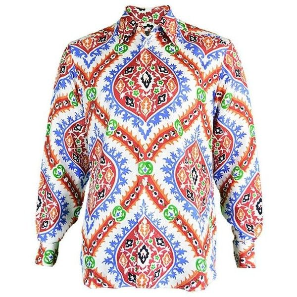Preowned Prada Men's Silk Shirt With Holliday & Brown Collab Paisley... ($319) ❤ liked on Polyvore featuring men's fashion, men's clothing, men's shirts, men's casual shirts, brown, chemises, mens french cuff shirts, mens brown shirt, mens patterned shirts and mens paisley shirt