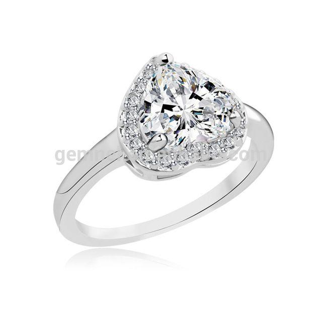 wholesale fashion sterling silver heart shape cz wedding diamond rings designs from malibaba - Wedding Diamond Rings