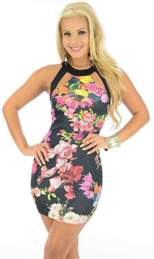 Brave-$21.80-Brave the club scene in fine fashion wearing this vogue dress. The bold floral print will have all heads turning your way. Cut outs at the neckline and upper back allow for a sexy show of skin, while double buttons at the neck ensure a secure feel.