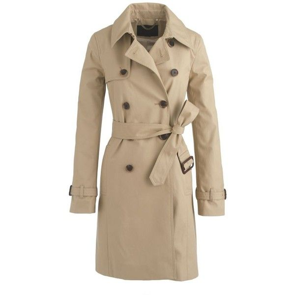J.Crew Icon Trench Coat ($395) ❤ liked on Polyvore featuring outerwear, coats, jackets, coats & jackets, tops, j.crew, j crew coat, cotton trench coat, brown coat и cotton coat