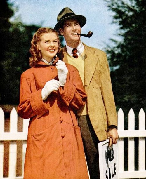 New home owners, 1940s. #vintage #couples #homemaker Look honey, our first home ...