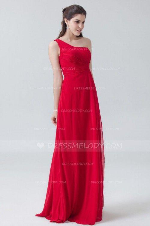 One Shoulder Sleeveless Zipper-Up Long Solid Red Ruched Chiffon Bridesmaid Dress #wedding #weddingphotography #weddinghairstyles #weddingflowers #wedd...