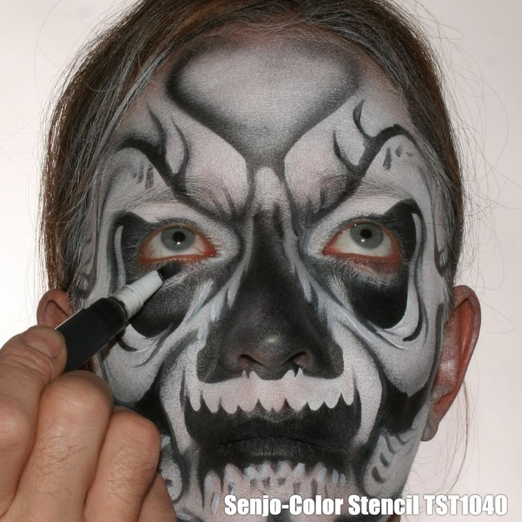 Airbrush Schablone FaceArt A4 - Totenkopf 3 #schablone #halloween #totenkopf #senjocolor