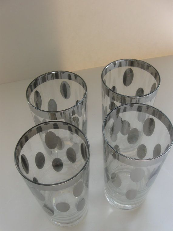Vintage Set of 4 Spotted Silver Rim Glasses// by MintMarketHome