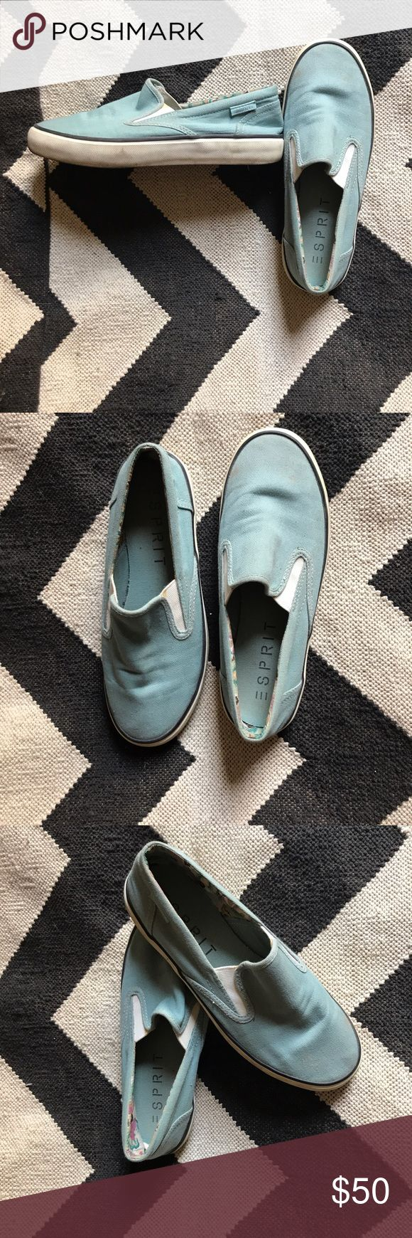 Esprit slip on loafers Esprit blue canvas slip on loafers with Vans styling. Lightweight cotton material, cute floral lining. Perfect for summer! Worn 2-3 times and they just don't match my wardrobe & tiny nyc apartment! Smoke & pet free home. Esprit Shoes Flats & Loafers