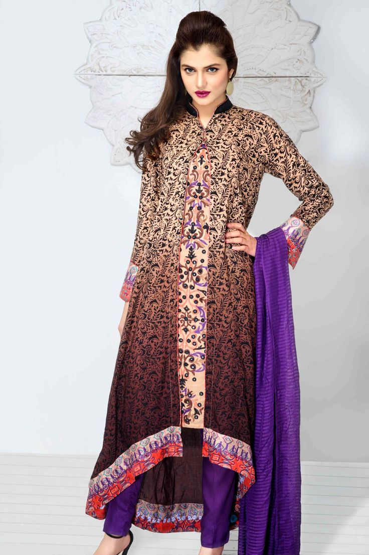 Jacket salwar kameez in beautiful violet, black and cream combination
