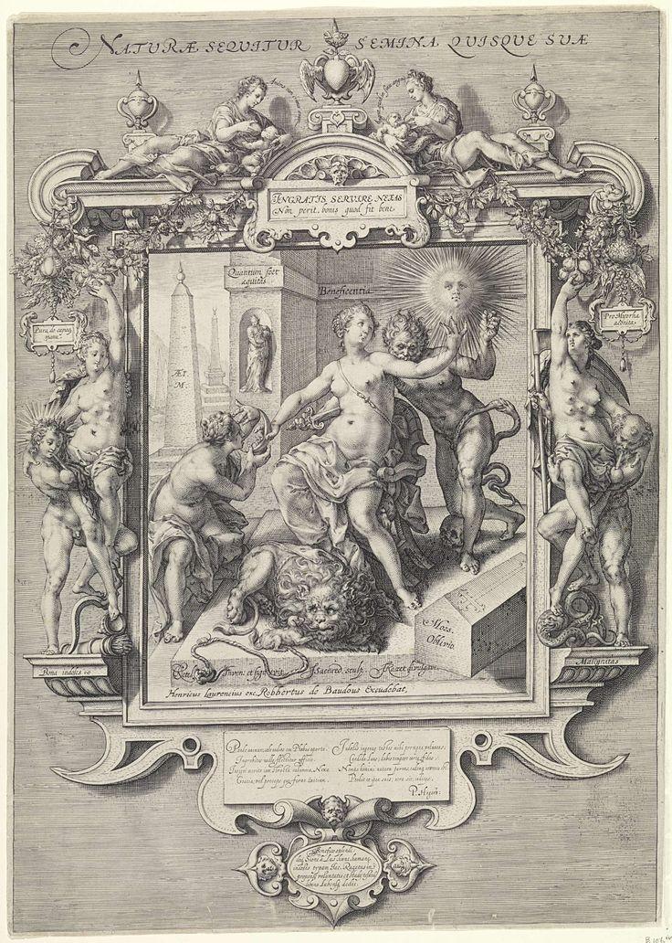 Jan Saenredam | Allegorie op de menselijke aard, Jan Saenredam, Petrus Hogerbeets, Hendrick Laurensz, 1610 - 1648 | Beneficentia, de personificatie van weldadigheid, zit op een stoel en wordt van achteren neergestoken door het kwaad in de gedaante van een naakte man. Een knie van de man leunt op een schedel en een slang, die in zijn eigen staart bijt als symbool van eeuwigheid, hangt rond zijn rechterbeen. Rechts staat een doodskist met het opschrift: Mors Oblivio. Met haar linkerhand geeft…