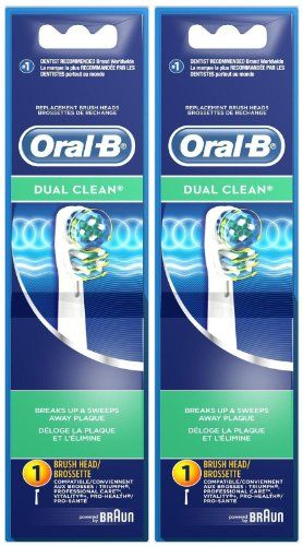 Oral-B #Dual Clean replacement electric toothbrush head features two moving brush heads in one, so it provides twice the cleaning action, removing more plaque th...