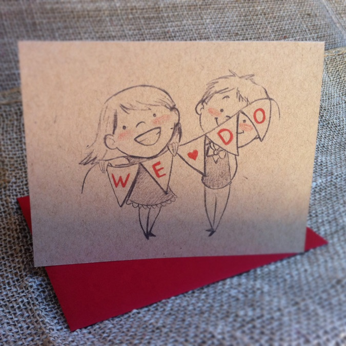 """We Do"" wedding greeting card by Genevieve Santos #renegadela"