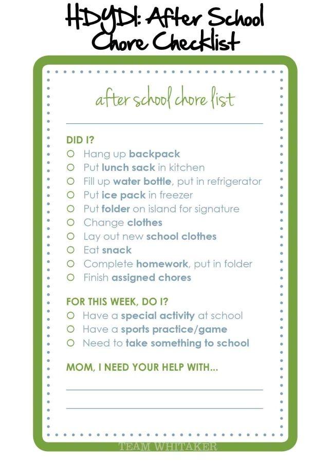 HDYDI: After School Chore Checklist