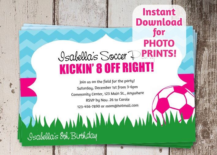 Soccer Invitation for Girls Birthday or Team Party - Instant printable digital file download - order photo prints or print on card stock by InstantInvitation on Etsy https://www.etsy.com/listing/246937328/soccer-invitation-for-girls-birthday-or