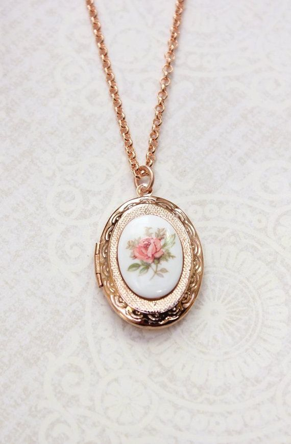 42 best my wishlist images on pinterest rings delicate jewelry rose gold locket necklace oval locket pink rose cameo pendant photo locket secret hiding place bridesmaids aloadofball Gallery