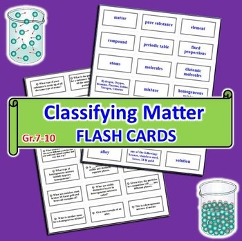 This product contains 21 (4cm x 7cm) FLASH CARDS on CLASSIFYING MATTER. Terms and Concepts: 1) matter, particles  2) pure substance  3) elements (atoms, diatomic molecules) and examples  4) compounds (molecules, fixed proportions) and example  5) mixture  6) homogeneous mixture (solutions, alloys) and examples  7) heterogeneous mixture (phases)  8) mechanical mixture  9) suspension