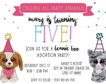 Calling all Beanie Boo Party Animals! Having a Beanie Boo themed party for your little one? This invite is for you!
