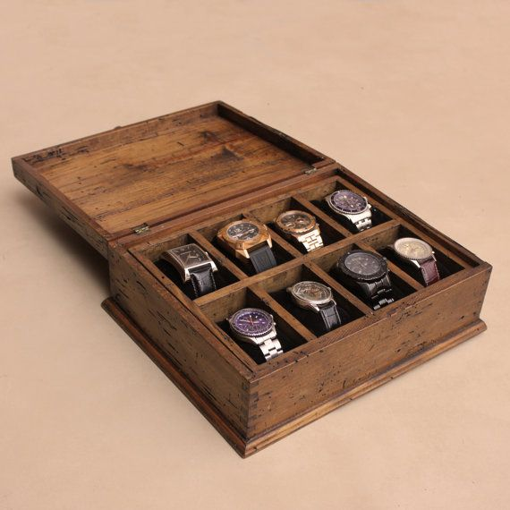New Personalized Rustic Men's Watch Box for 8 watches with secret compartment - For EXTRA LARGE WATCHES