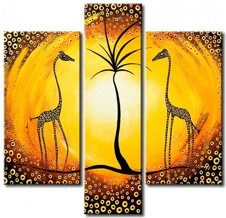 Triptico: Jirafas cerca de la palmera es nuestro otro ejemplo de arte africano. Para detener por más tiempo los recuerdos de las vacaciones, recomendamos uno de cuadros de este genero. ☼