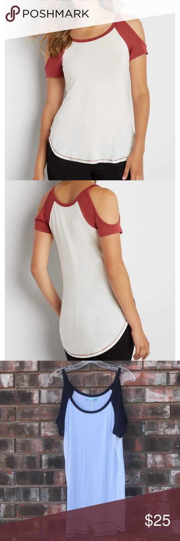 NWOT!! Maurice's baseball Tee Cute cut out shoulders baseball tee!! I DO NOT HAVE THE RED SHIRT!! Only the navy blue. Picture is to only show how it looks on. NWOT!! Maurices Tops Tees - Short Sleeve