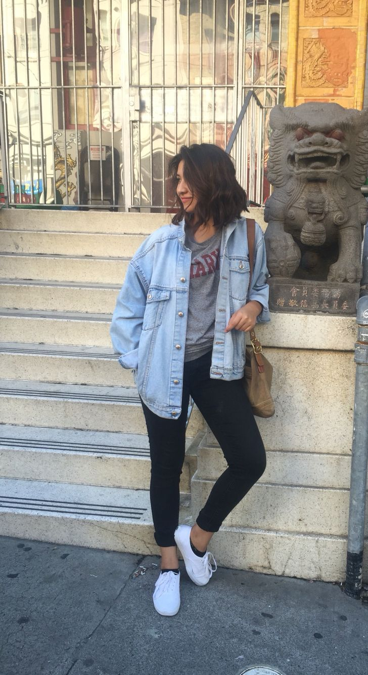 Jean jacket black jeans White vans Classic Harvard grey tee #city #outfit