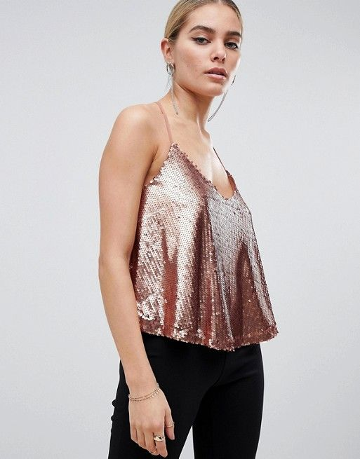 e4a1b98dd9831c Outrageous Fortune sequin cami top in rose gold in 2019