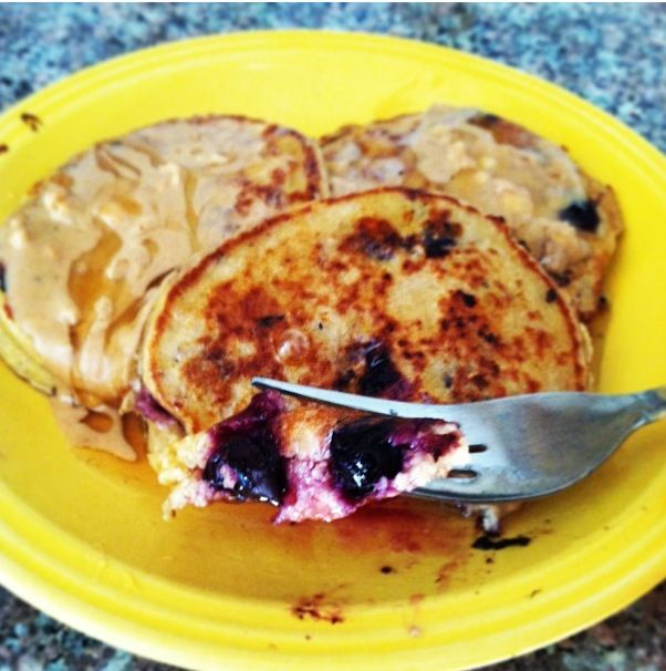 Blueberry Flourless Pancakes - made these this morning and they were a success!