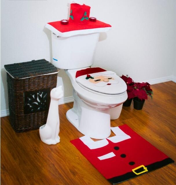 Christmas Decorations Happy Santa Toilet Seat Cover Rugs Pad Bathroom Set toilet seat Tank cover Toilet carpets Mats 3piece set