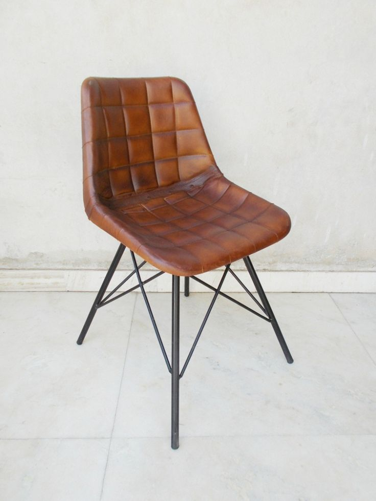 Vintage Industrial Giron Iron Leather Dining Chair