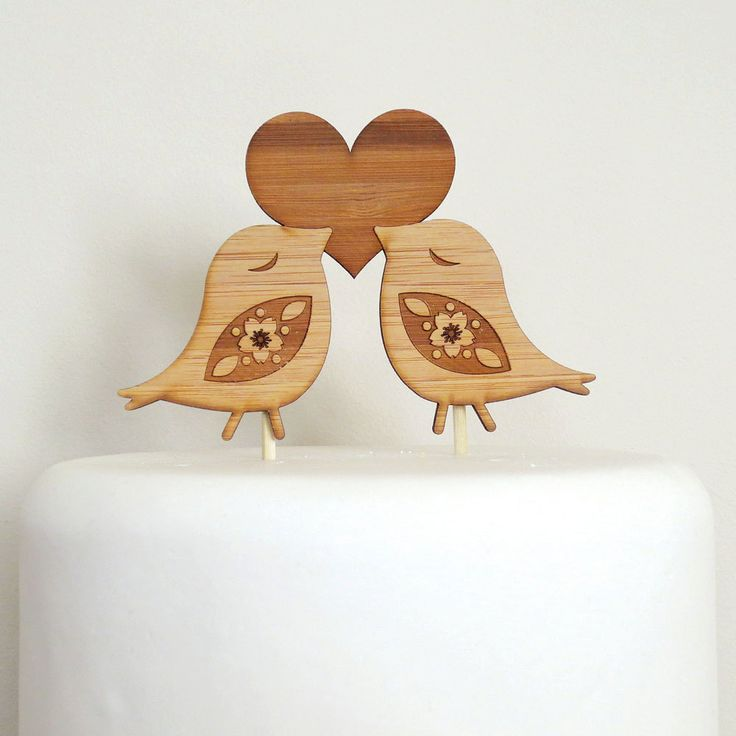 Love Birds Cake Topper - Bamboo - Wedding Cake Topper - Rustic Wedding - Modern Wedding. $30.00, via Etsy.