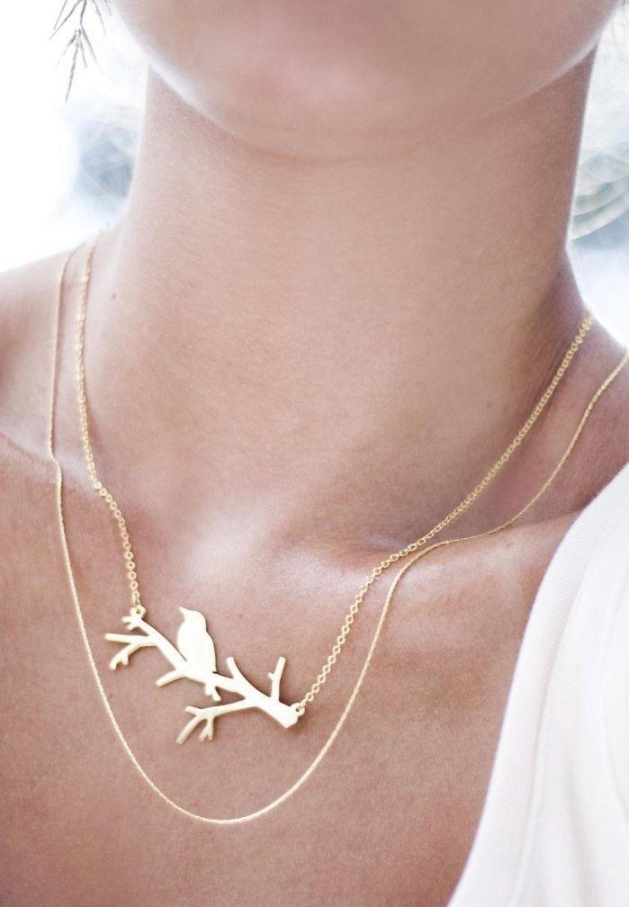 Bird branch necklace